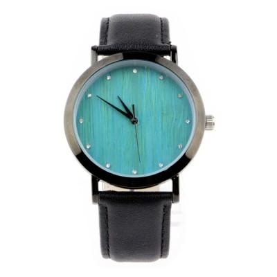 metal wood watch, metal wood watch case alloy, blue diamond dial, black leather strap