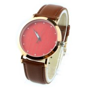 Wood Face Watch, red diamond dial, mental wood watch case alloy, leather strap