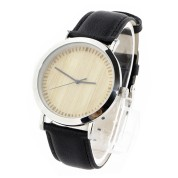 New Hand Watch, metal wood watch case alloy, Carbonized bamboo dial, leather strap, laser scale