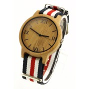 Watches Wrist Watch, Carbonized bamboo case and dial, metal scale, nylon strap, sport