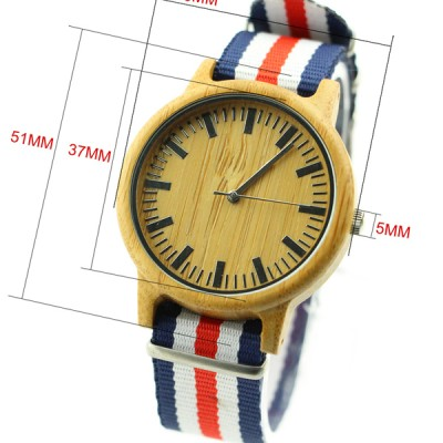 Wooden Face Watch, nylon strap, Sport, Carbonized bamboo case,