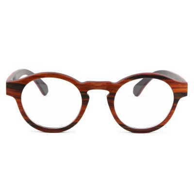 designer frames eyeglasses, red sandalwood layered wood, lens can be changed to prescription lens, Round