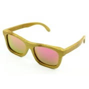 Polarized Bamboo Sunglasses, Angular, Carbonized Full Rim Frame and Nose Pad, Rose Lenses