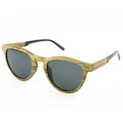 wooden mens sunglasses, Zebra cat eye, acetate tip, gray lenses
