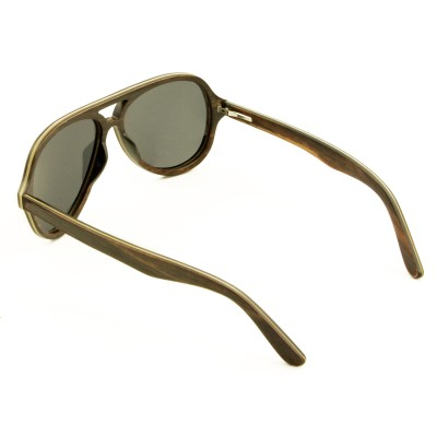 sunglasses with wooden frames, ebony wood top bar and full rim frame aviator, gray lenses