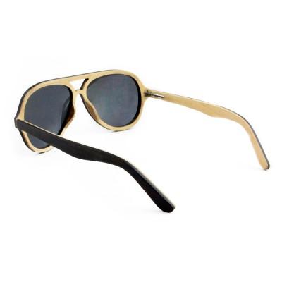 wood sunglasses Toronto, Ebony wood top bar and full rim frame aviator, gray lense