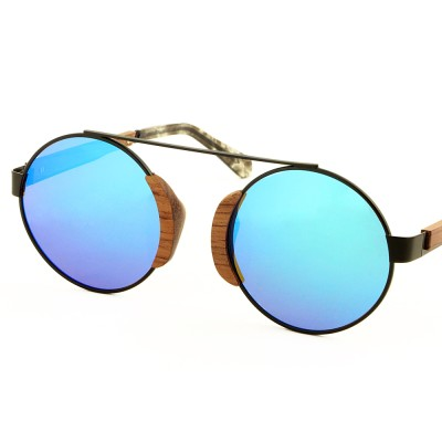 wood sunglasses australia, titanium top bar, walnut wood nose pad, round blue lenses, acetate tip