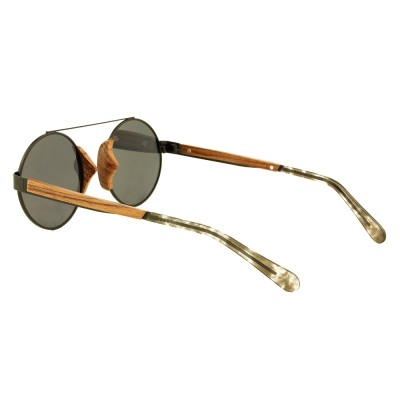 wood effect sunglasses, walnut wood nose pad, full rim metal frame round, gray lenses, acetate tip