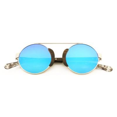 Best wooden sunglasses, metal frame, round blue lenses, acetate tip