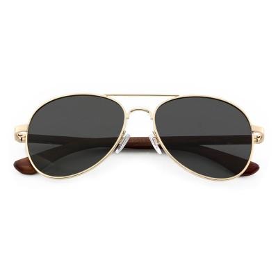 wood rose sunglasses, metal ,metal top bar, soft plastic nose pad, black lenses, Aviator