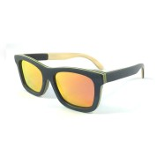 wooden sunglasses san francisco, orange red lenses, skateboard wood, black wood full rim frame