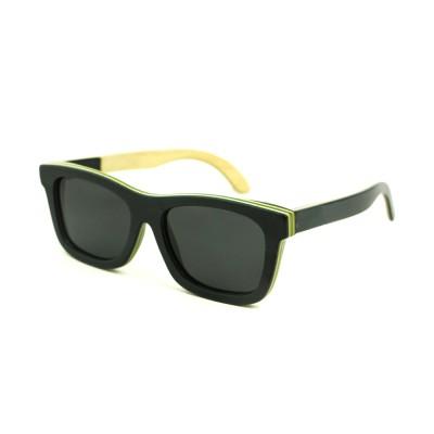 wood grain sunglasses, black lenses, layered wood, black wood full rim frame