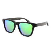 Bamboo Frame Glasses, Rectangle, Green Lenses, Black Bamboo Frame
