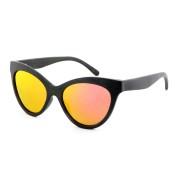 Bamboo Sunglasses Polarized, Black Layered Bamboo Full Rim Frame, Smoke, Cat Eye