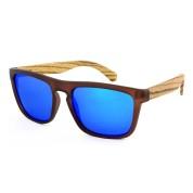 diy wooden sunglasses, plastic full rim frame, blue lenses, zebra wood stool