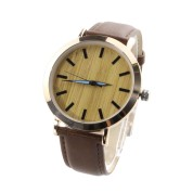 Wooden Watch With Leather Band, waterproof, alloy case, leather strap, metal scale