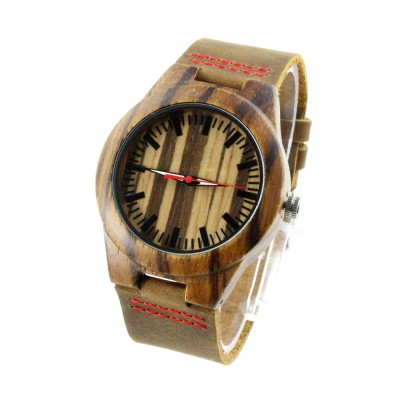 unique watches women, zebra wood case, brown leather strap, red second hand