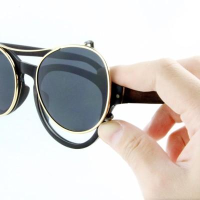 Designer Wood Eyeglass Frames, Ebony wood, Lens Can Be Changed To Prescription Lens,Cat eye