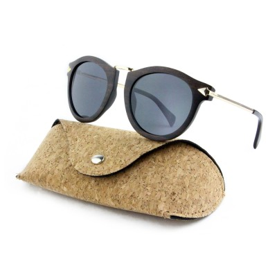 Recycled Wood Sunglasses, Ebony Wood, Black, Stainless Steel, Wayfarer, Men's