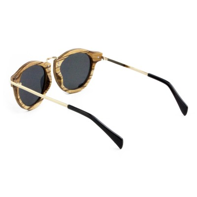 Cat Eye Sunglasses, Zebra Wood, Black, Unisex