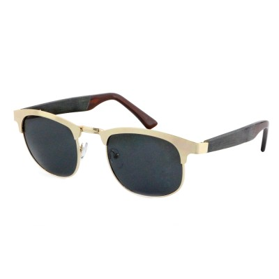 Wooden Sunglasses Black Lens, Ebony Wood Square, Stainless Steel