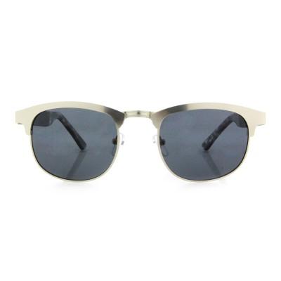 Wooden Style Sunglasses, Ebony Wood, Square, Stainless Steel,Black Lenses
