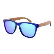Wood Frame Sunglasses Canada, Plastic, Blue Lenses, Red wood stool