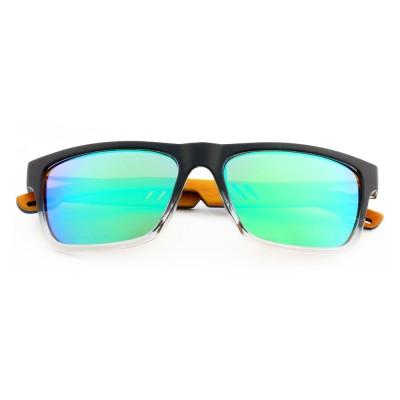 Australian Wooden Sunglasses, Plastic, Green Lenses, Rectangle