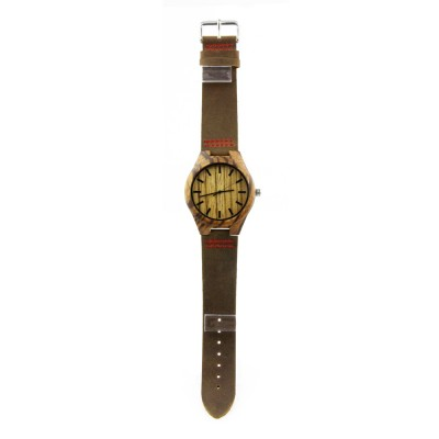 Wooden and Leather Watches, Zebra Wood Case, Metal Scale, Leather Strap