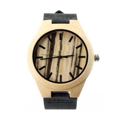 Zebrawood Male Watch, Zebra Wood Case, Leather Strap, Metal Scale
