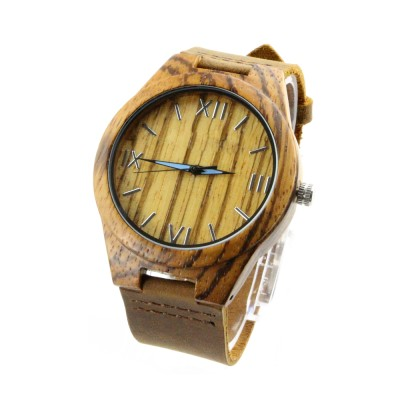 Wood Dial Watches, Zebra Wood Case, Brown Leather Strap, Metal Scale