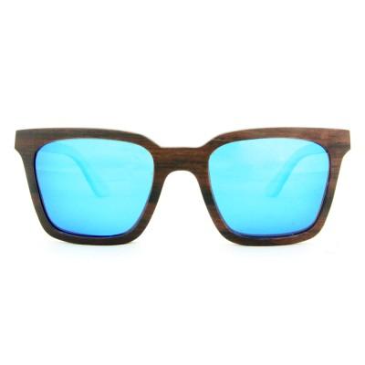 Handmade Wooden Sunglasses, Ebony Wood, Blue, Wayfarer, Men's