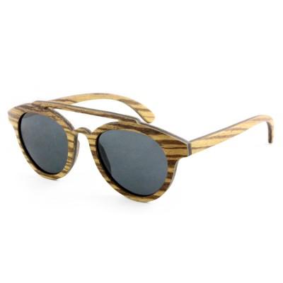 Round Cat Eye Sunglasses, Zebra Wood, Black
