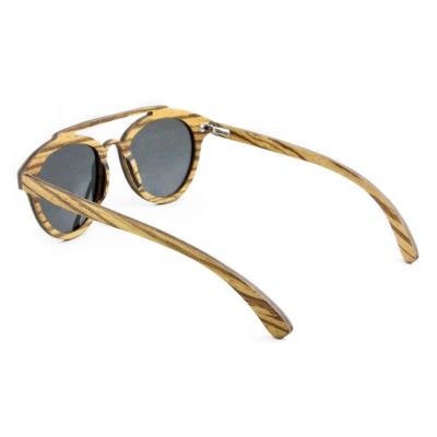 Round Cat Eye Sunglasses, Zebra Wood, Black
