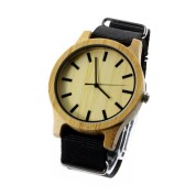 Mens Wood Face Watch, Carbonized bamboo, Nylon Strap, Metal Scale