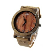 Wooden Luxury Watches, Walnut Wood Case, Metal Scale, Metal Buckle, Brown Leather Strap
