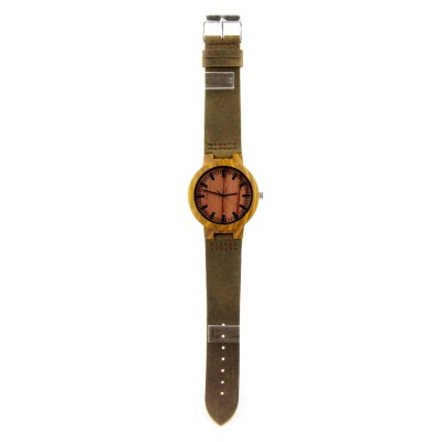 Engraved Designer Watches, Zebra Wood Case, Brown Leather Strap, Metal Scale