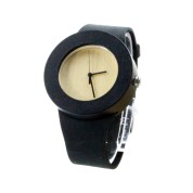 Nature Watches, Ebony Wood Case, Black Leather Strap
