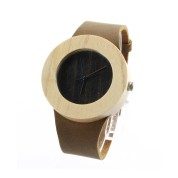 Swiss Wooden Watches, Maple Wood Case, Brown Leather Strap
