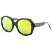 Wood Sunglasses Round, Black Bamboo, Full Rim Frame and Nose Pad, Orange Lenses