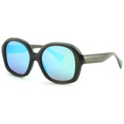 Cheap Real Wood Sunglasses, Black Bamboo, Full Rim Frame and Nose Pad, Blue Lenses