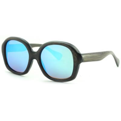 Cheap Real Wood Sunglasses, Black Bamboo, Full Rim Frame and Nose Pad, Blue Lenses