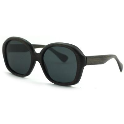 Wood Frame Polarized Sunglasses, Black Bamboo, Full Rim Frame and nose pad