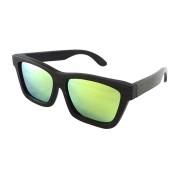 Wood Polarized Sunglasses For Women, Black Bamboo, Green Lenses, Rectangle