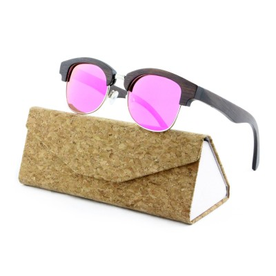 Wood Sunglasses Womens, Bamboo, Full Rim Frame And Nose Pad, Rose Lense