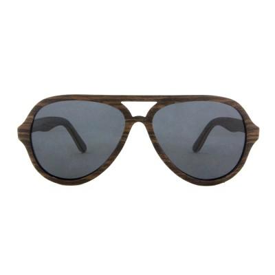 Natural Wood Sunglasses, Ebony  Full Rim Frame Aviator, Gray Lense