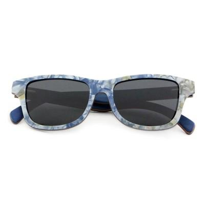 Acetate And Wood Sunglasses, Full Rim Frame Aviator, Gray Lense
