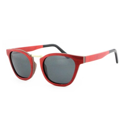Wood Sunglasses Red, Maple Wood, Black, Wayfarer