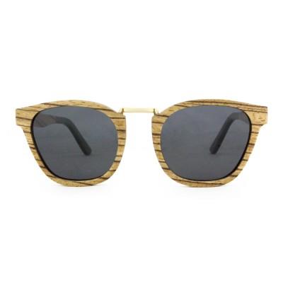 Wood Sunglasses Men Wayfarer, Zebra Wood, Black, Wayfarer
