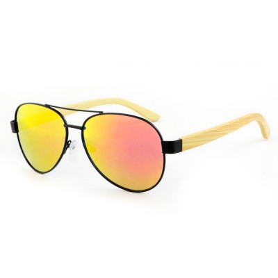 Wholesale Wooden Sunglasses, Bamboo, Stainless Steel, Red Lenses